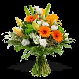 Blumenstrauß luftig leicht orange weiß