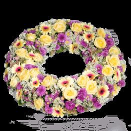 Trauerkranz mit rosa und creme Blumen