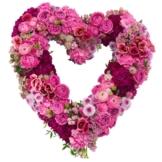 Herz Trauergesteck Trauerkranz pink