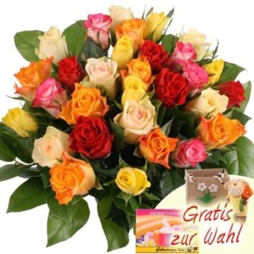 30 bunte rosen mit zugabe ihrer wahl blumen guenstig 1