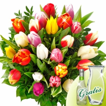 Blumenstrauß Tulip mit Vase & Secco