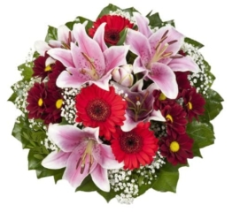 """Dominik Blumen und Pflanzen, Blumenstrauß  """"Charlotte"""" mit rosa Lilien - 1"""
