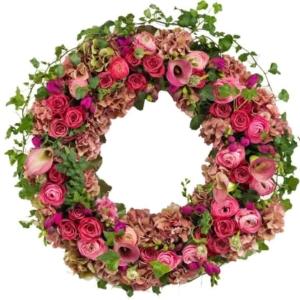 Traditioneller Trauerkranz oder Beerdigungskranz online - rosa