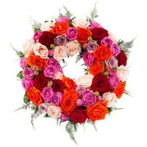 Trauerkranz mit Rosen - Beerdigungskranz mit Schleife