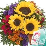 Blumenstrauß Inspiration mit Vase & Merci Schokolade