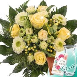Blumenstrauß Sonnenlicht mit Vase & Merci Schokolade