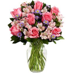 Blumenstrauß in rosa - lila -Blumnelieferung USA