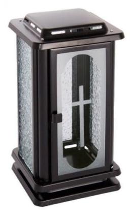 Grablatene Edelstahl schwarz mit Kreuz Grablampe Grablicht Grableuchte - 1