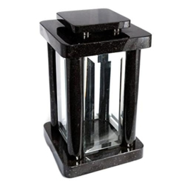 Hochwertige Grablampe Monument aus echtem Granit Schwedisch Black Höhe 25,5 cm / Breite 14,5 cm / Länge 14,5 cm Grabschmuck Grablaterne Granitlampe Granitlaterne Grabdekoration wetterfest frostsicher - 1