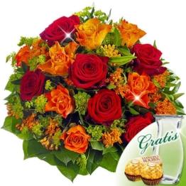 Rosenstrauß Rubin mit Vase & 2 Ferrero Rocher