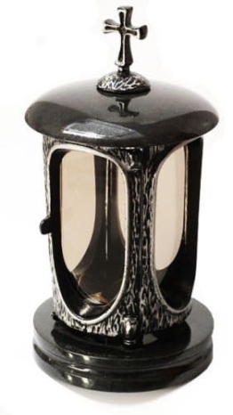Stilvolle Grablaterne Anthrazit Kreuz Granit Schwedisch Black Höhe 27 cm / Ø 14,5 cm Grableuchte Grablicht Grablampe Granitlampe Granitlaterne Grau mit Sockel Grabschmuck - 1