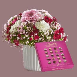 Blumenstrauß Herbstgruß mit Lindt Mini Pralinés