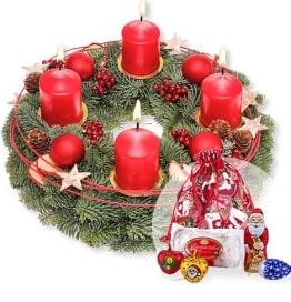 Adventskranz Frohe Weihnachten und Süßer Adventsgruß