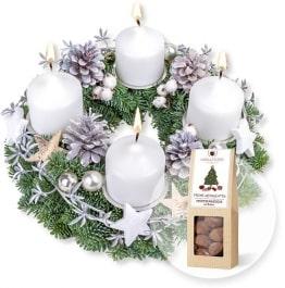 Adventskranz Weiße Weihnacht und Trüffelmandeln