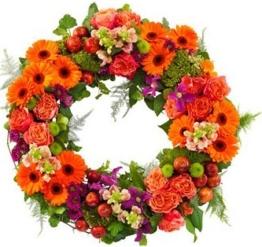 Trauerkranz - Beerdigungskranz in orange