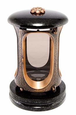 Afterglow Stilvolle Grablaterne Elégant Granit Schwedisch Black Höhe 23 cm/Ø 15 cm Grableuchte Grablicht Grablampe Granitlampe Granitlaterne Bronze mit Sockel Grabschmuck - 1
