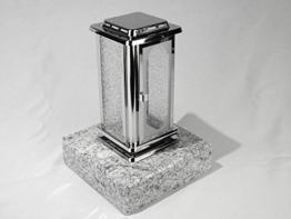 designgrab Grablampe Royal aus Edelstahl mit Granitsockel aus Granit Viscont White - 1