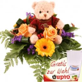 Blumen und Teddy