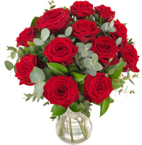 Rote Rosen verschicken - Rosenstrauß versenden mit Karte