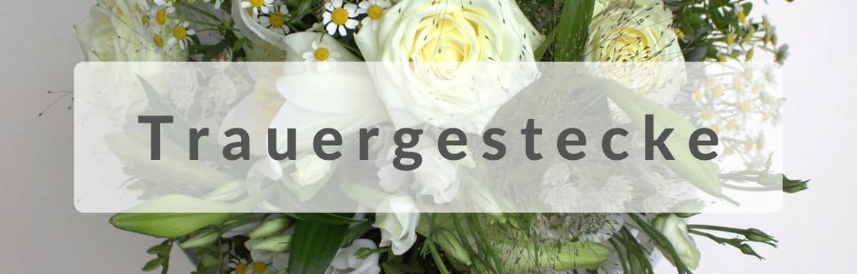 Trauergesteck - Trauerstauß mit Schleife und Spruch