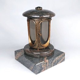 designgrab grablampe mit granit sockel 20x20x5 cm aus messingfarbenem aluminium