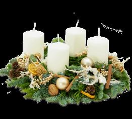 Adventskranz creme-weiß