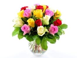 Blumenversand bundesweit! Blumenstrauß zum Geburtstag - 20 Stück bunt gemischte Rosen in guter Qualität! - mit Gratis Grußkarte versenden - 1