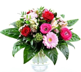 Blumenversand Deutschlandweit - Frühlingsblumenstrauss - Pink Kisses - mit Ranunkeln, roten Rosen, Minigerbera und Beiwerk - 1