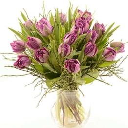 Blumenversand im Frühling - Blumenstrauß - 20 Stück lila gefüllten Tulpen - mit Gratis Grußkarte - Deutschlandweit versenden - 1