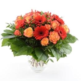 Blumenversand vom Besten! - unser Blumenstrauß - Orange Fire! mit 15 rot-orangen Rosen & Gerbera - mit Grußkarte Deutschlandweit versenden - 1